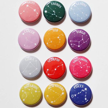 """Zodiac 1"""" Buttons"""