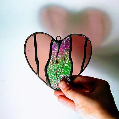 Vulva Heart Suncatcher - Pierced Labia