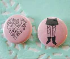 """Hairy Legs Club 1"""" Buttons, Set of 2"""