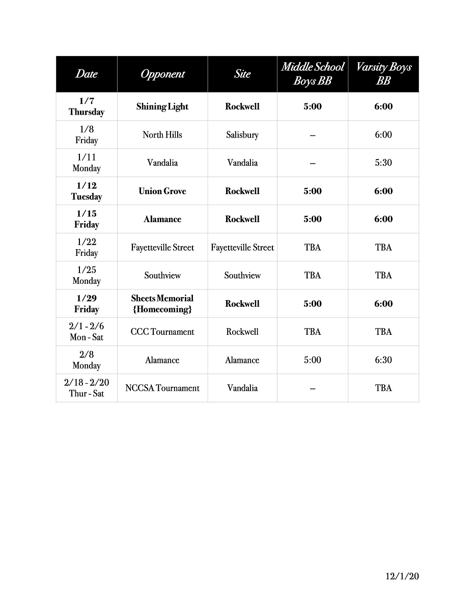 2020-2021 Winter Athletic Schedule (drag