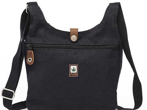 PURE: Handliche, elegante Schultertasche aus Hanf/Baumwolle - Schwarz