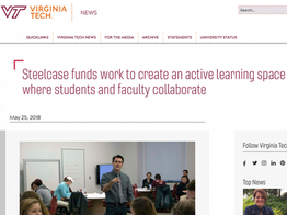 Steelcase Active Learning Center, VT News, 2018