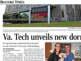 VT unveils new dorm, The Roanoke Times, Aug. 2021