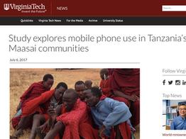 Maasai mobile phone use, VT News, 2017