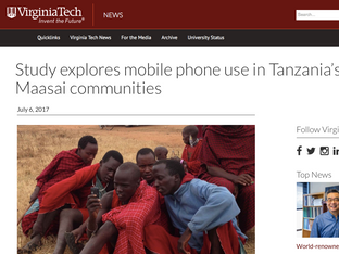 Maasai mobile phone use, VT News, 2017