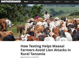 How texting helps Maasai,  motherboard.com, March 2016