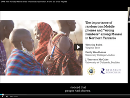 Public lecture on Maasai, mobile phones, and wrong numbers, December 2020