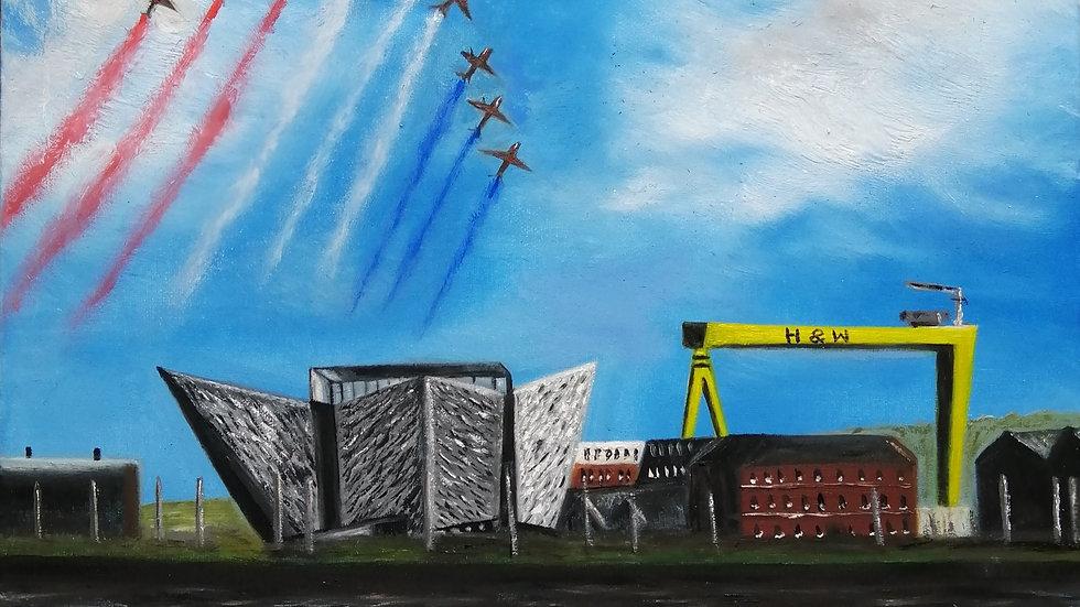 Fine Art Giclee Print of The Red Arrows Belfast