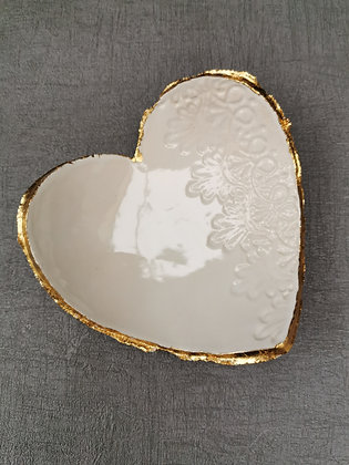 White & Gold Heart Trinket Dish