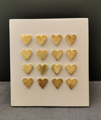 Gold Hearts Wall Hanging Tile