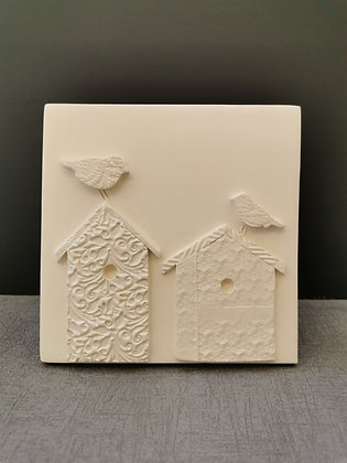 Birds Perched on Birdhouse Wall Hanging Tile