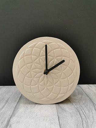 Cream Geometric Design Mantle Piece clock
