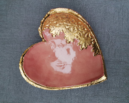 Pink & Gold Heart Trinket Dish