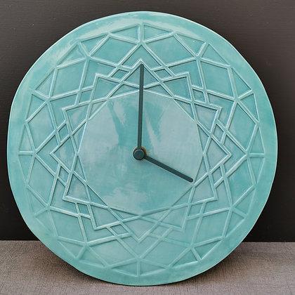 Aqua Geometric 'Star' Design Wall Clock