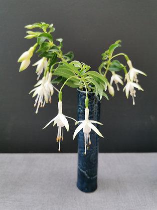 Individual 'Storm blue' Cylindrical Bud vase