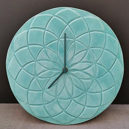 Aqua Geometric 'Petal' Design Wall Clock