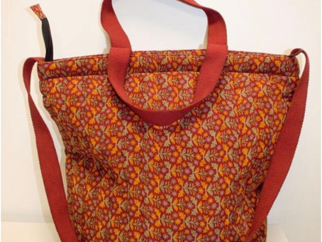 AMPOUR Recycled Printed Red Silk Shopping Tote, Market Bag, Ethical Shopper, Eco-friendly Tote, Shop