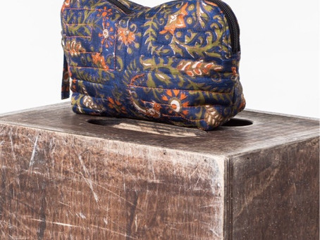 Get 10% off on recycled silk cosmetic bag by AMPOUR