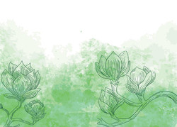flowers-on-green-watercolor-background-f