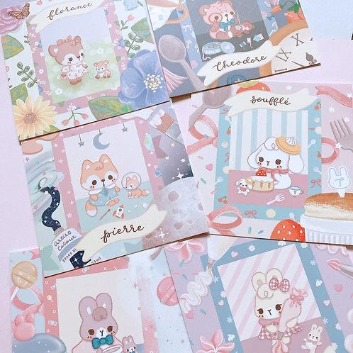 Set of 6 Woodland Babies Mini Card Print