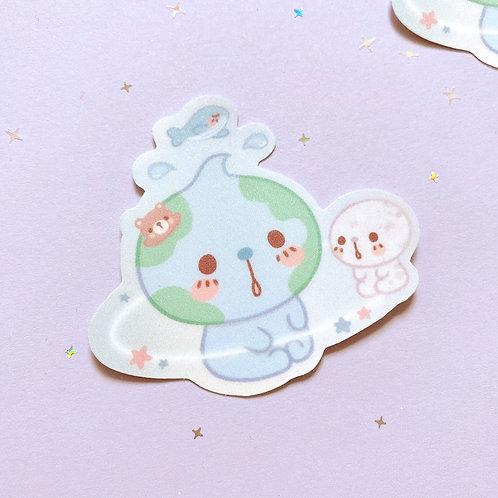 Earth Baby Iridescent Sparkle Sticker