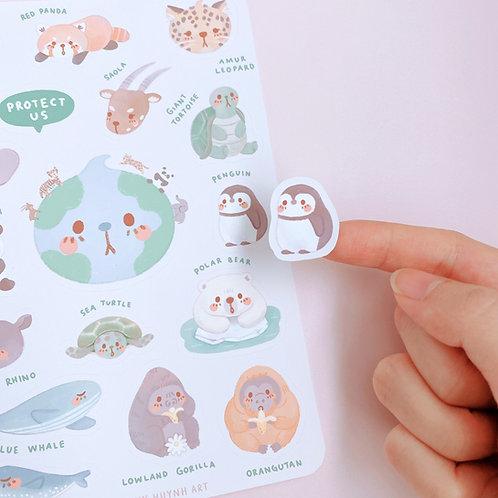 Endangered Animals! - Large Sticker Sheet