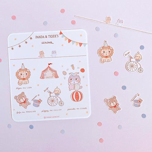 Panda and Tiger Circus - Sticker Sheet