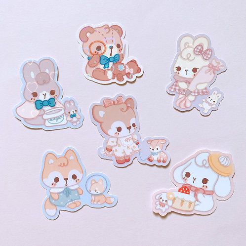 Woodland Babies Holo Heart Shimmer Stickers