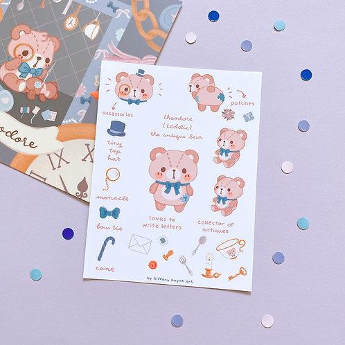 Theodore Teddie Bear - Sticker Sheet