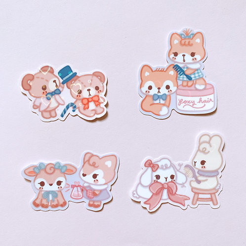 Pampering Animal Friends Holo Heart Shimmer Stickers