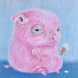 """Acrylic on Wood Canvas, 6x6"""", 2017"""