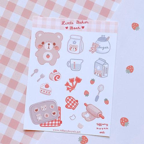 Little Baker Bear - Sticker Sheet