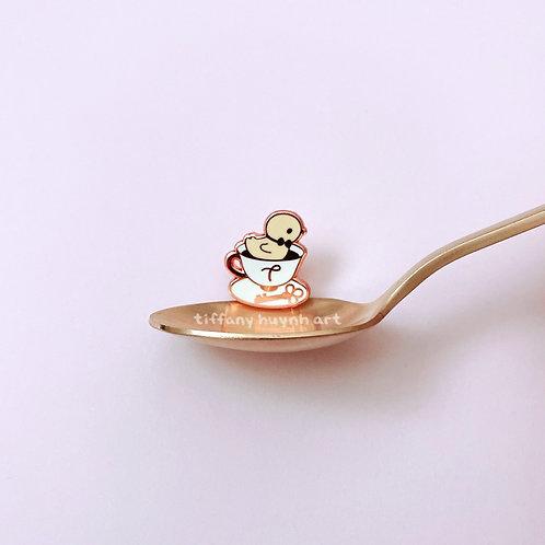 Duck in Teacup - Mini Enamel Pin