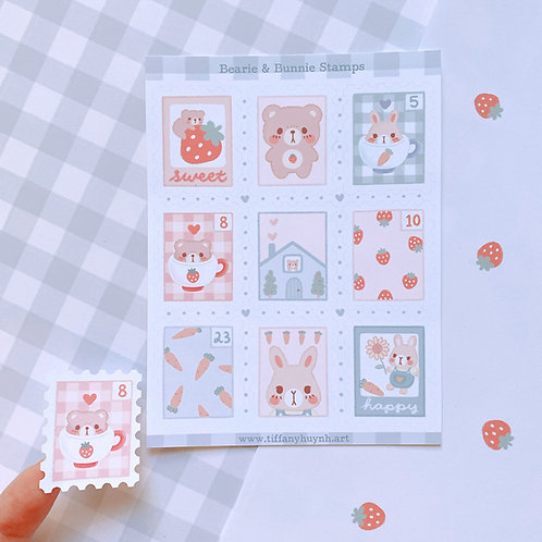 Bearie and Bunnie Stamps - Sticker Sheet