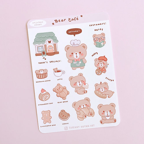 Bear Cafe - Large Sticker sheet