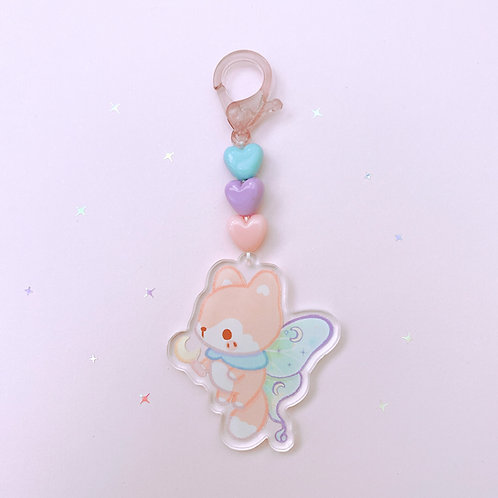 Fox Luna Moth Hearts - Keychain