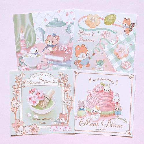 Set of 4 mini card prints - Sakura Matcha Tearoom