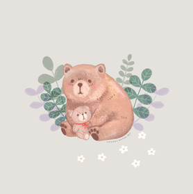 Bear with plush