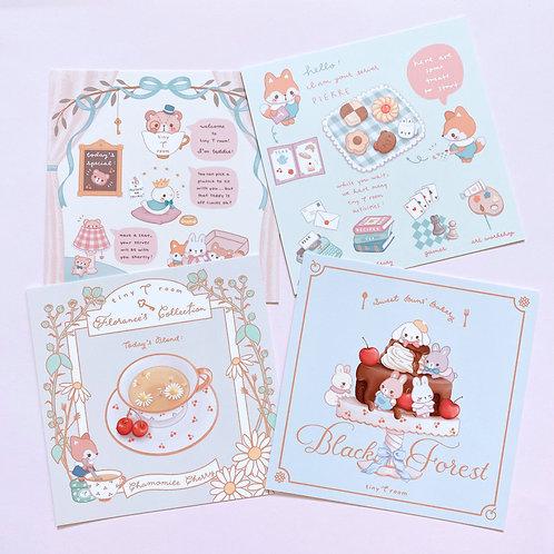 Set of 4 plus bonus mini card prints - Tiny Tearoom (T room) Intro
