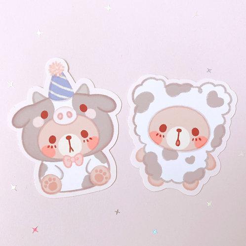 Set of 2 Moo Bear Stickers