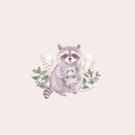 Raccoon with plush
