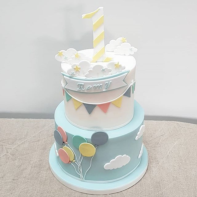 Two Tier Bunting And Balloons 1st Birthday Cake