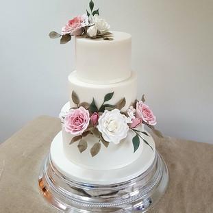 Sugar rose floral wedding cake