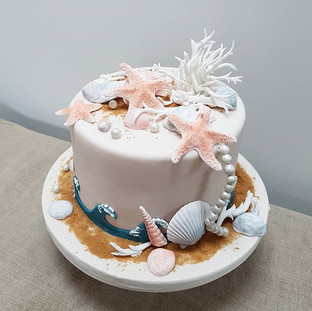 Seashore and sea shell cake being taken down to Cornwall for a small intimate wedding this weekend.jpg