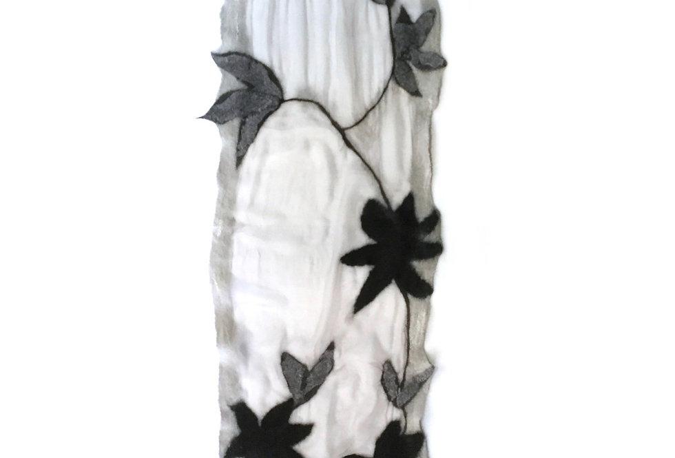 Sciarpa foglie nere / Black leaves scarf