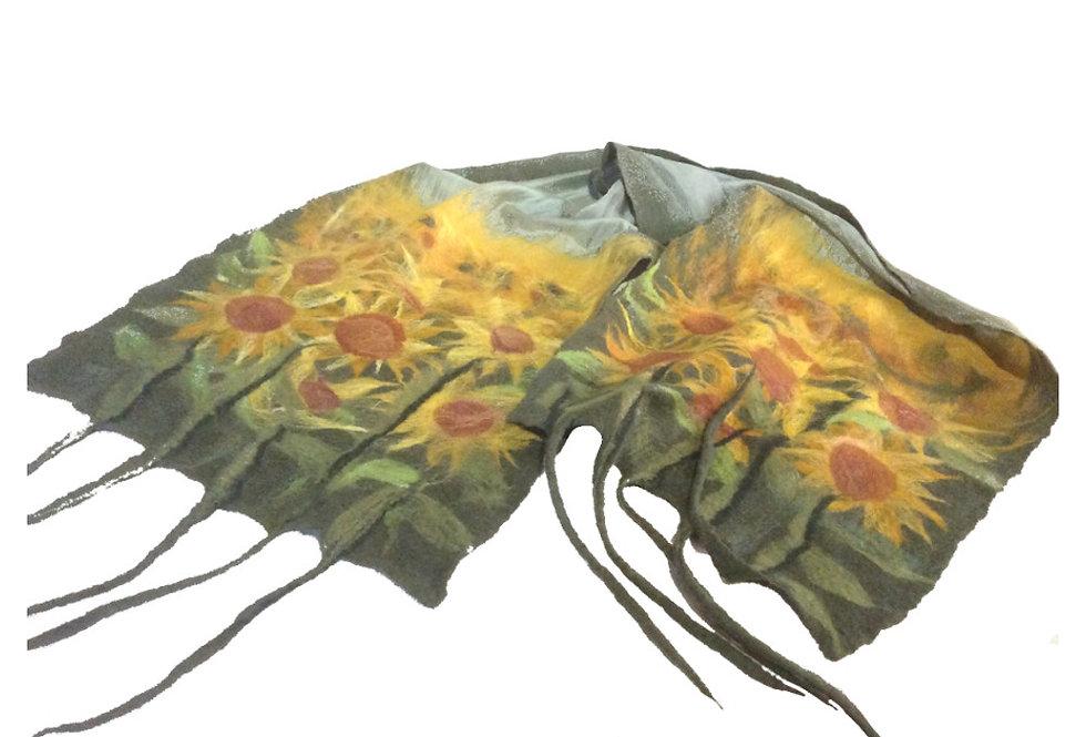 Sciarpa verde girasoli frange / Green sunflowers fringed scarf