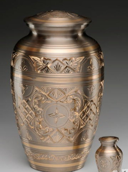 Brass Urn with Etched Design