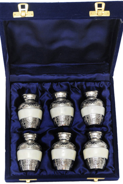 Silver Etched Mini-Urn Keepsakes (6)