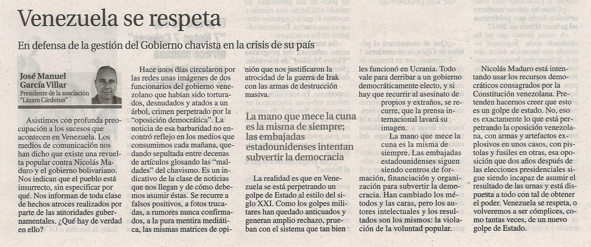 Artículo de José Manuel G. Villar
