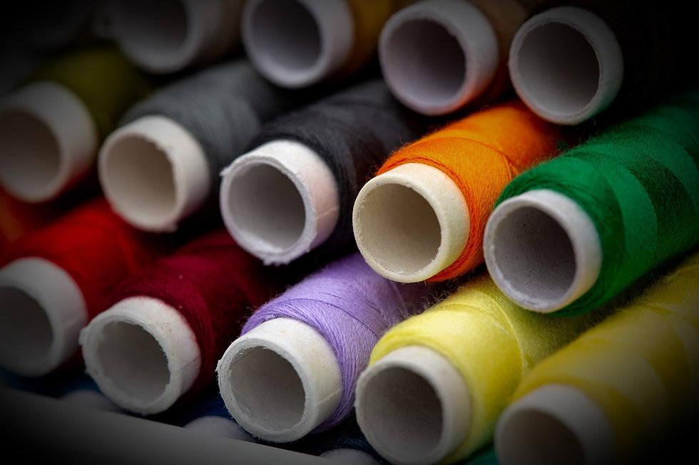 A set of threads in different colors. Multicolored threads for sewing and needlework.